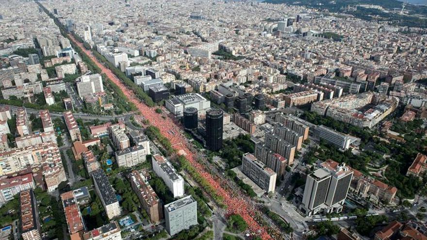 La masiva concentración han llenado la avenida Diagonal de Barcelona