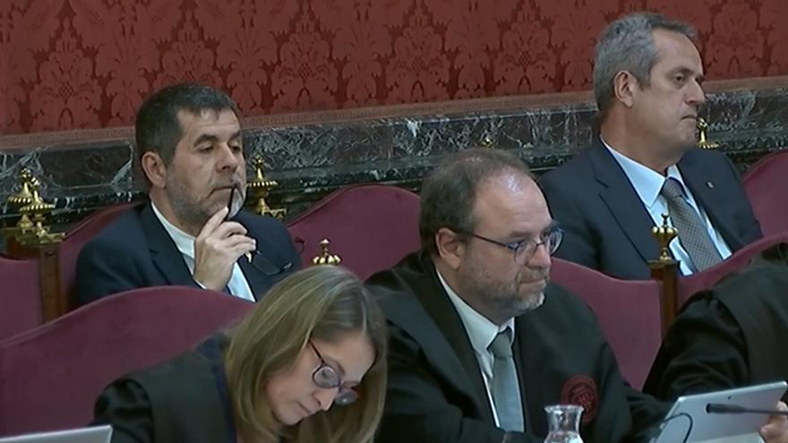 Jordi Sànchez durante la sesión del juicio del 6 de mayo.