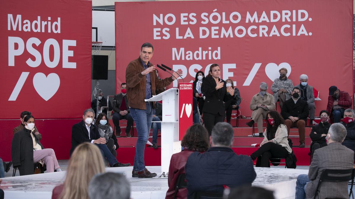 Pedro Sánchez, en el acto del PSOE en Getafe este domingo con el nuevo lema de campaña.
