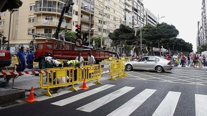 Obras de la peatonalización de Mesa y López. (ACFI PRESS)