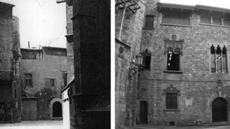 La part posterior de la Casa dels Canonges, amb finestres afegides i una galeria porticada a la part superior