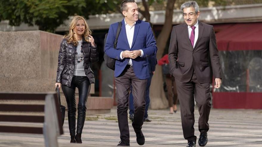 La portavoz del Partido Popular en el Parlamento de Canarias, María Australia Navarro; el portavoz de Coalición Canaria, José Miguel Ruano (c), y el de Nueva Canarias, Román Rodríguez