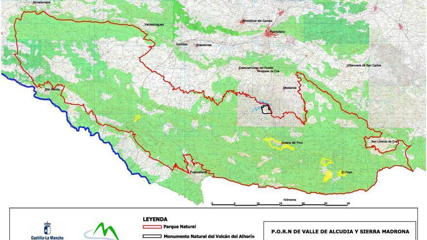 Mapa del Parque Natural Valle de Alcudia y Sierra Madrona