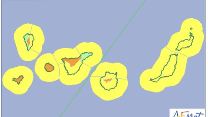 Mapa de la Aemet de los avisos de riesgo por viento y fenómenos costeros.