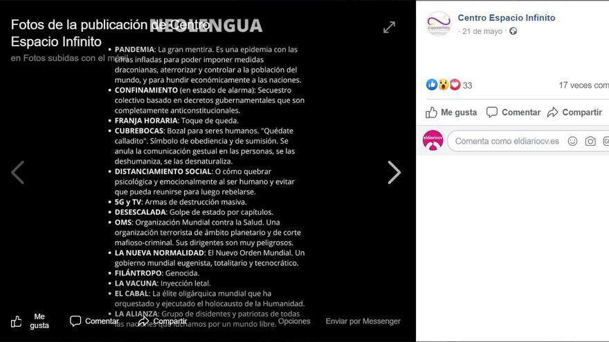 Publicación del centro psicológico de Valencia relacionada con el coronavirus.