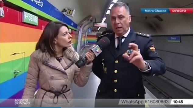 Captura de pantalla de la entrevista al policía que rescató a un hombre en las vías del Metro de Chueca | Imagen: Telemadrid