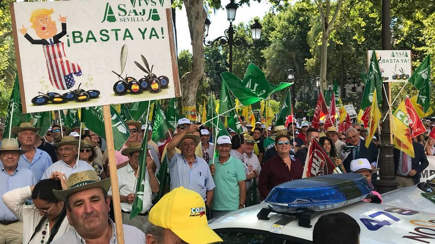 Imagen de la protesta, que se ha desarrollado en pleno centro de Sevilla, ante el consulado americano.