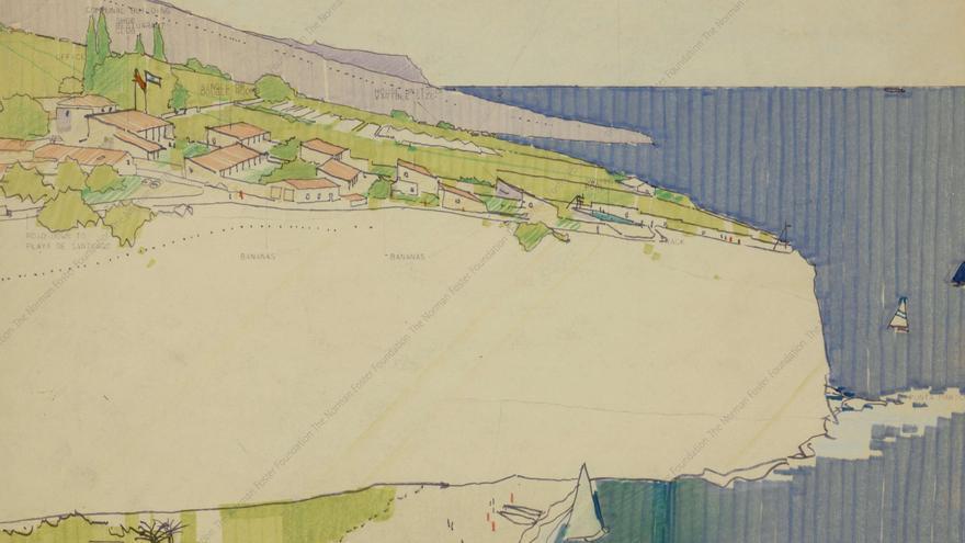 Boceto de uno de los proyectos del arquitecto Norman Foster para la isla de La Gomera. (NORMAN FOSTER FOUNDATION)