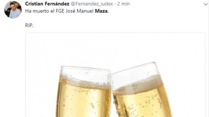 Captura del tuit de Cristian Fernández