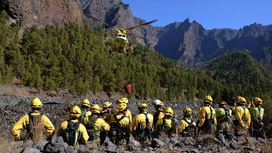 Imagen de archivo de unas jornadas contra incendios en La Caldera.
