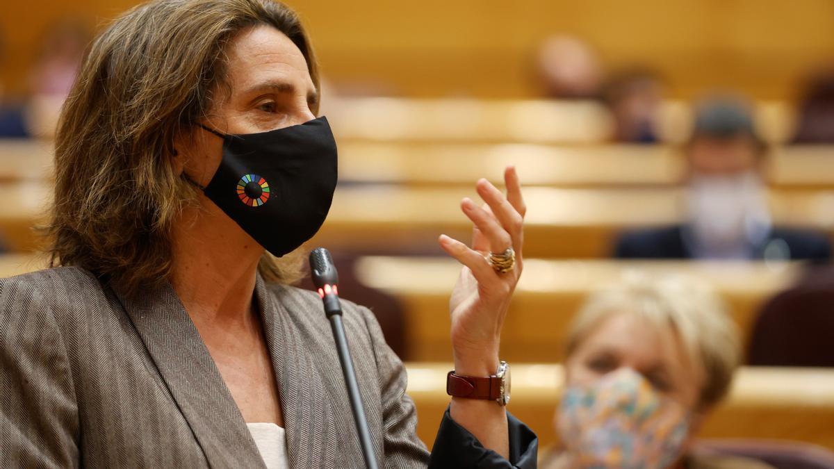 La vicepresidenta cuarta y ministra para la Transición Ecológica y el Reto Demográfico, Teresa Ribera durante su intervención en la sesión de control al Gobierno, en el Senado. EFE/ Mariscal