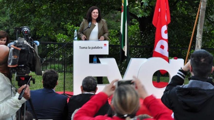 Eva Pérez en Navaconcejo durante la presentación de su pre-candidatura a la Secretaría General del PSOE de Extremadura