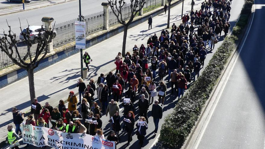 Manifestación del personal en huelga en A Coruña