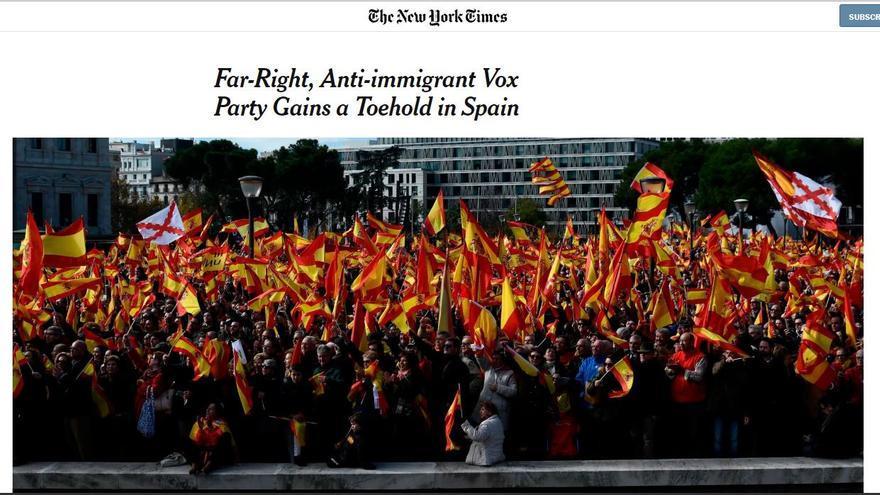"""""""El partido de extrema derecha, antiinmigrante Vox gana puntos de apoyo en España"""", el artículo de New York Times"""