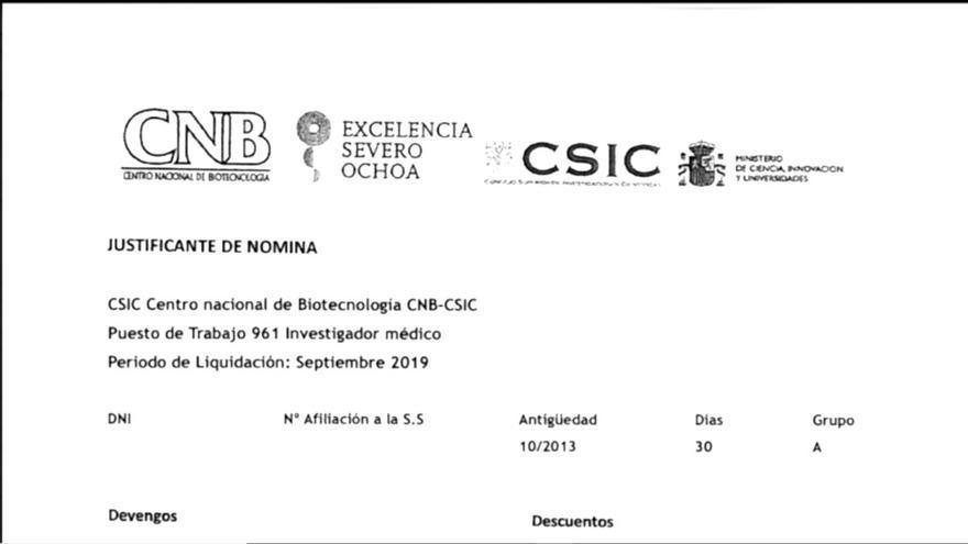 Una de las nóminas falsas presentadas por Sánchez Pacheco para conseguir que le alquilaran un piso que luego subarrendaría | SOMOS MALASAÑA