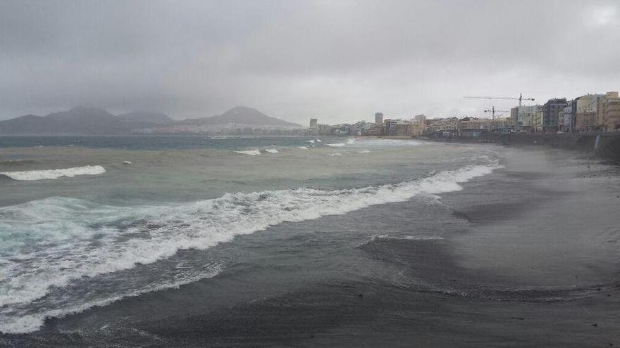 Playa de Las Canteras en la mañana de este miércoles. Foto: @PoliciaLPA.