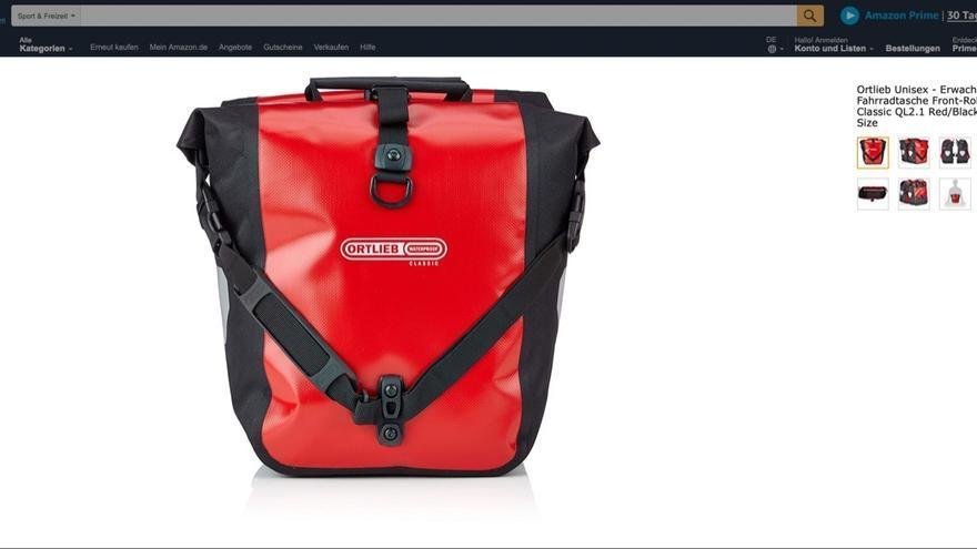 Imagen de una mochila de la marca Ortlieb en la plataforma Amazon.
