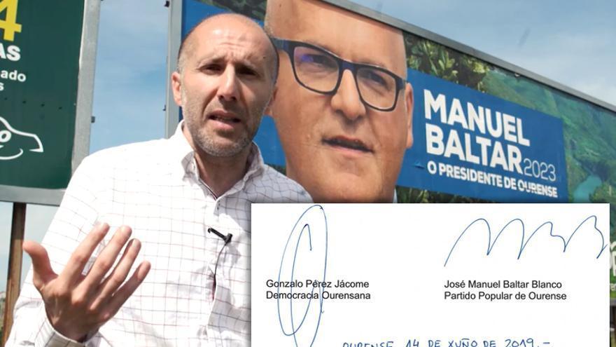 Gonzalo Pérez Jácome, en un vídeo electoral en el que se mofaba de Baltar, y firmas de ambos en el pacto de gobierno