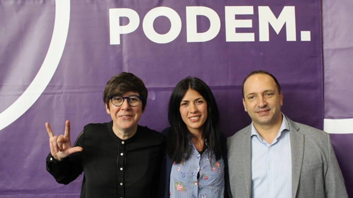 La síndica de Podem, Pilar Lima, la diputada Naiara Davó y el vicepresidente Rubén Martínez Dalmau.