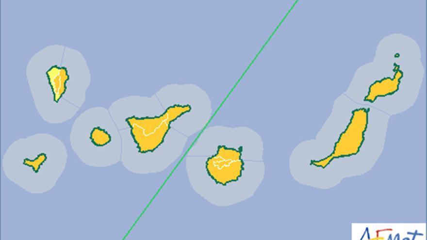 La Aemet eleva a naranja el aviso por fenómenos meteorológicos adversos en Canarias, excepto parte de La Palma.