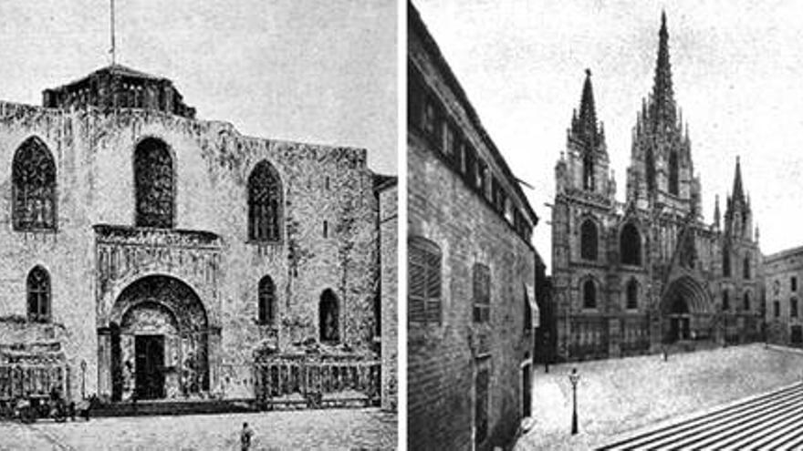 La façana de la Catedral, a finals del segle XIX i el 1930