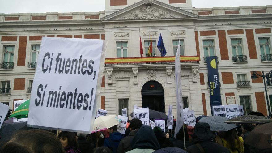 Concentración estudiantil en Madrid de estudiantes de la URJC