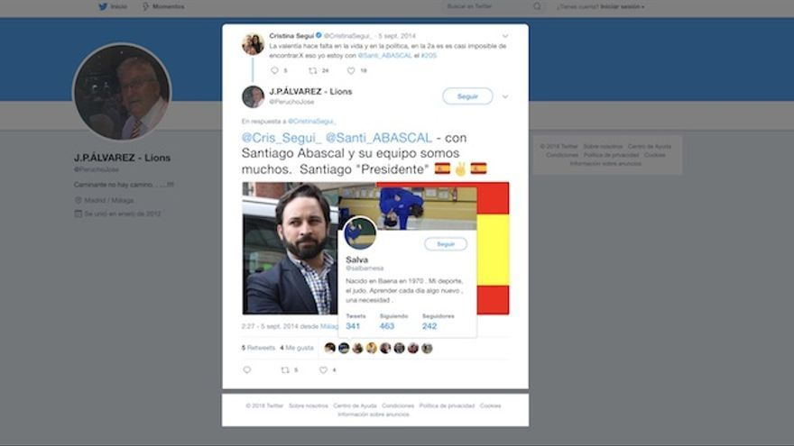 Me gusta del juez Alba a un tuit de Santiago Abascal