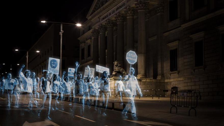 Manifestación de Hologramas © No Somos Delito