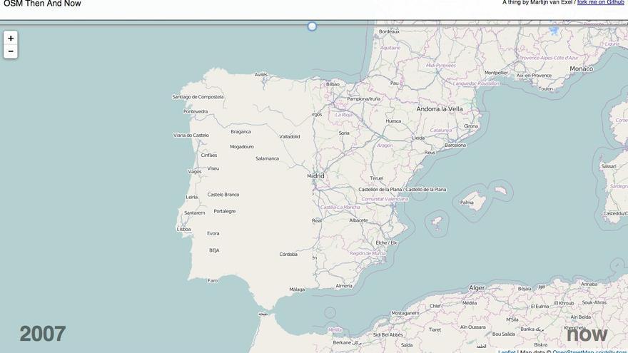 España: a la izquierda tal y como estaba en 2007 y a la derecha tal y como está ahora