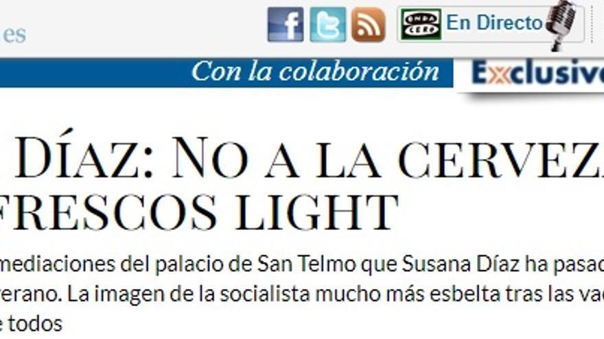 Captura de pantalla del artículo publicado en La Razón.