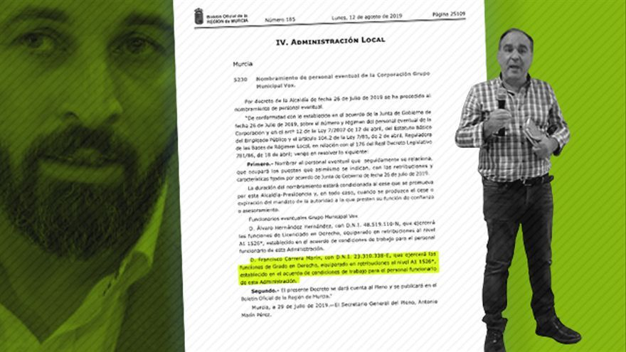 Vox contrata como asesor en el Ayuntamiento de Murcia al hijo de un diputado del Parlamento regional
