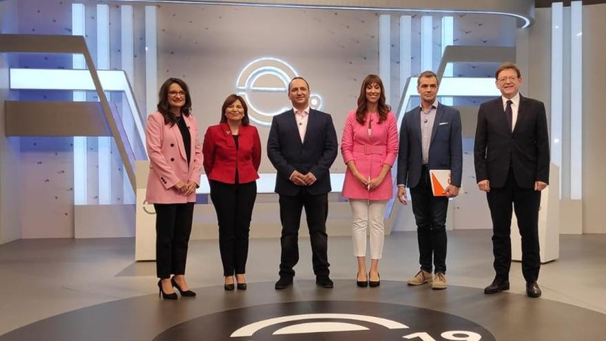 Mónica Oltra, Isabel Bonig, Rubén Martínez Dalmau, Toni Cantó y Ximo Puig junto a Jèssica Crespo