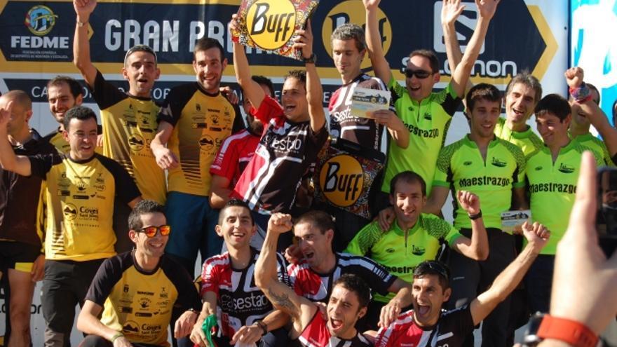 Podio final masculino del Campeonato de España de carreras por Montaña en línea de Clubes FEDME 2015.