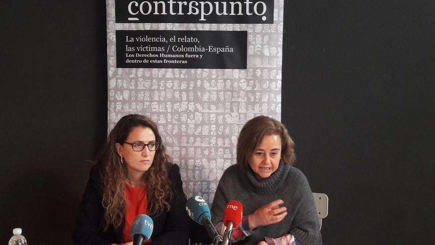 Zoraida Hijosa, directora General de Memoria Histórica, y Carolina Hijosa, miembro de La Vorágine, en rueda de prensa.