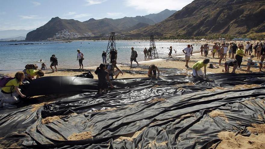 Protesta contra el petróleo Canarias.EFE/Cristóbal García