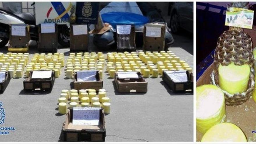 Incautados 200 kilos de cocaína ocultos en piñas de Centroamérica