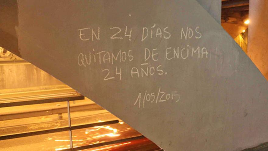 Una de las pintadas reivindicativas en el barrio valenciano de Russafa