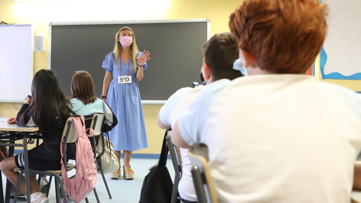 Inicio del curso escolar 2021/2022 en un colegio de Madrid.