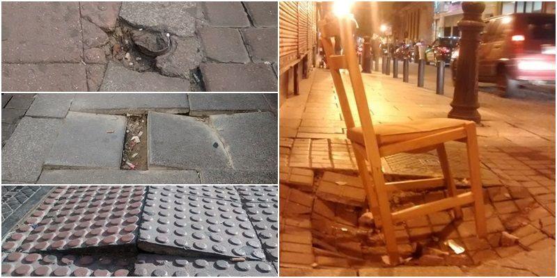Desperfectos en aceras pasados (y ya arreglados) en las calles del centro de Madrid   SOMOS MALASAÑA