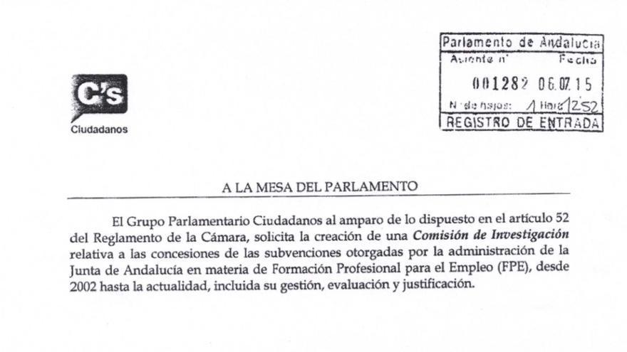 Petición de comisión de investigación de C's.