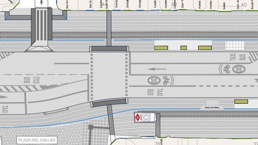 Plano de la futura Gran Vía junto a la Plaza de Callao