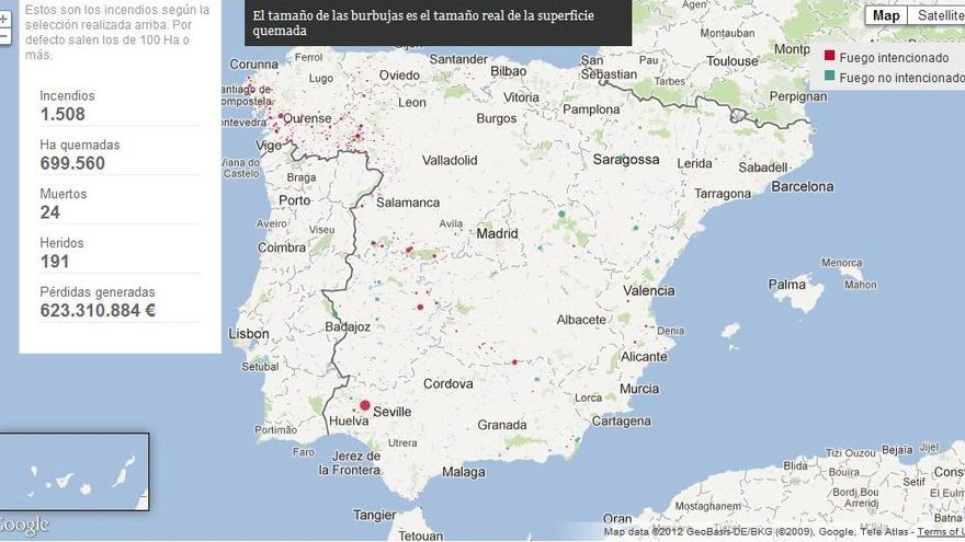 Mapa interactivo del proyecto de periodismo de visualización de datos 'España en llamas'