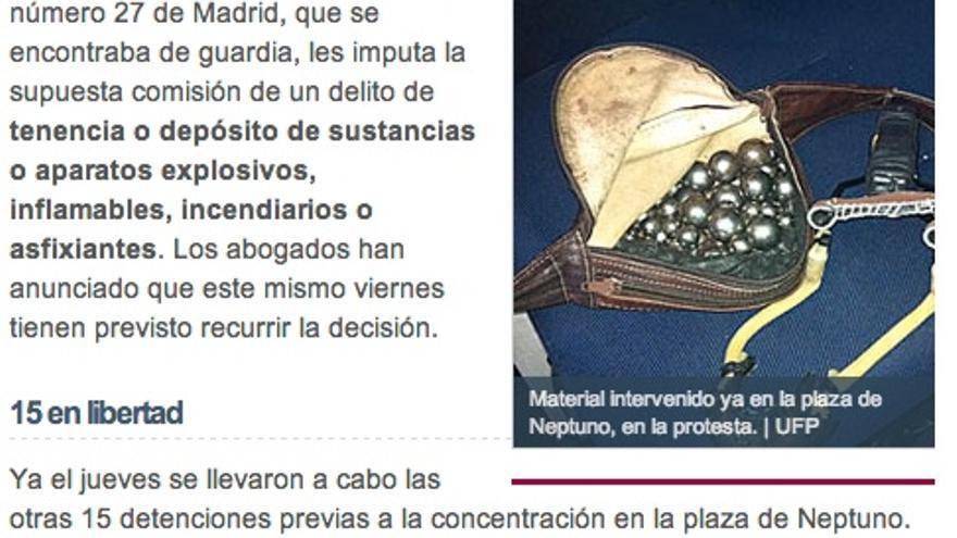 Captura de una noticia de elmundo.es del 27 de abril de 2013.