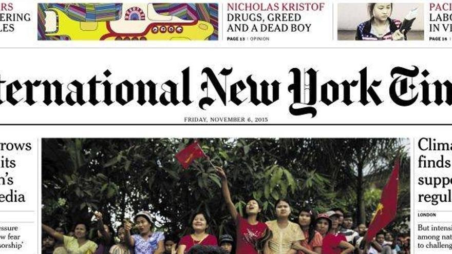 Portada de la edición del viernes de The New York Times.