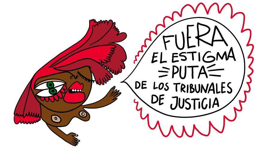 """Cartel de la concentración protestas el 2 de junio con el lema """"Fuera el estigma 'putas' de los tribunales de justicia"""""""