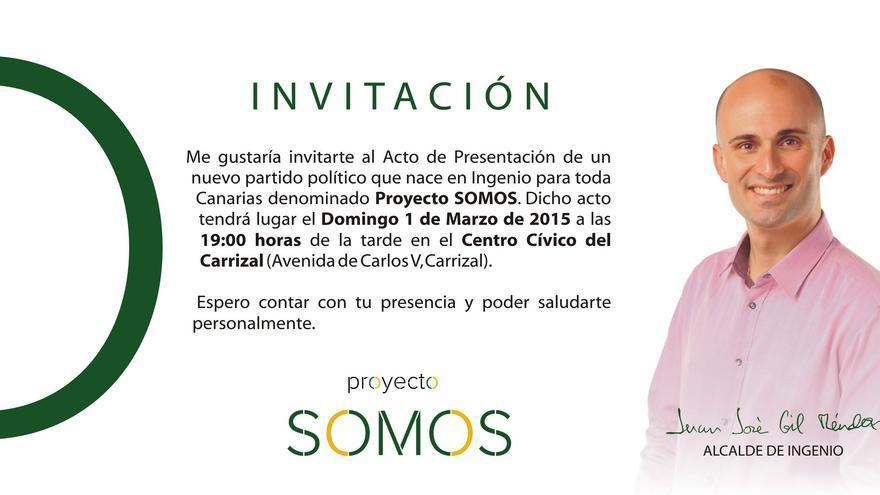 Invitación a la presentación del nuevo proyecto político de Juan José Gil.