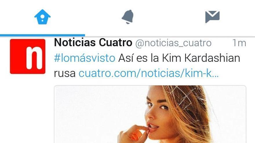 Dos tuits de Noticias Cuatro e Informativos Telecinco con el mismo titular e imagen