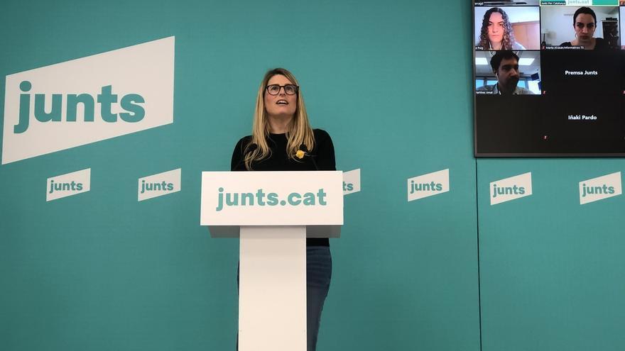 La vicepresidenta de Junts, Elsa Artadi, en rueda de prensa telemática