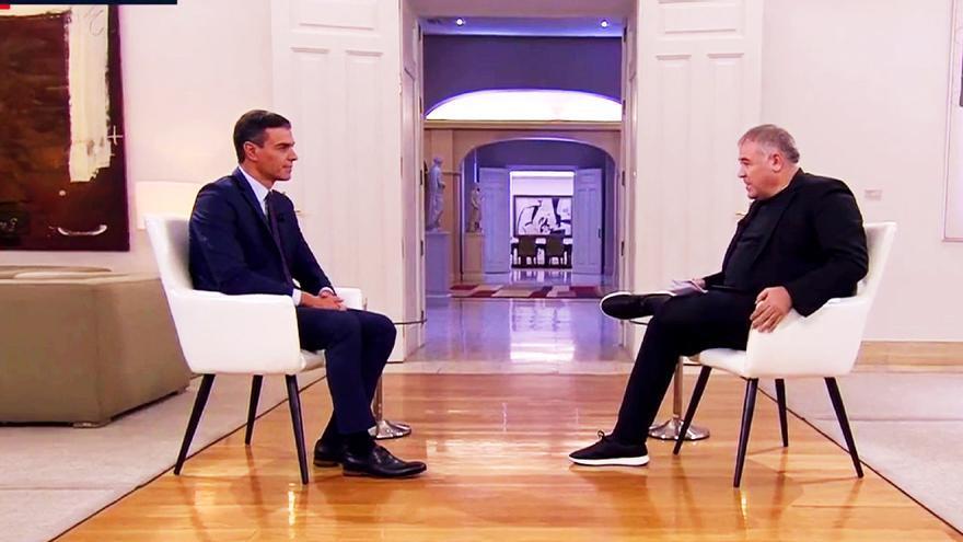 Ferreras entrevistando a Pedro Sánchez en septiembre de 2019