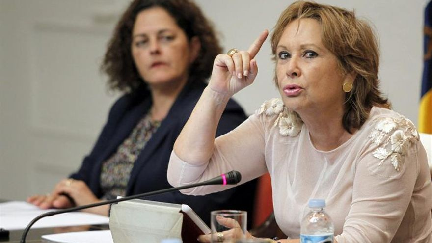 La consejera de Empleo, Industria y Comercio del Gobierno de Canarias, Francisca Luengo, durante su comparecencia en comisión parlamentaria. (Efe/Cristóbal García).